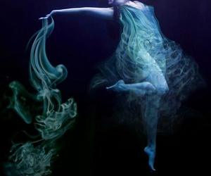 smoke, woman, and underwater image