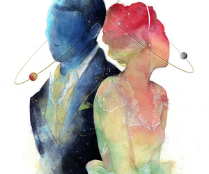art, couple, and blue image