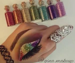 makeup, girl, and glitter image