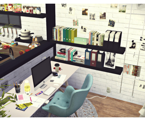 house, interior, and the sims image