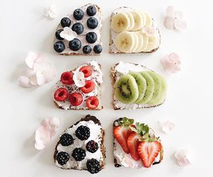 food, bread, and fruit image