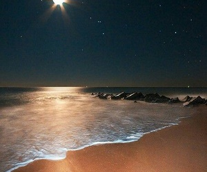 beach, dark, and moon image