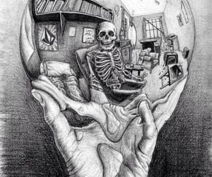 art, skeleton, and hand image