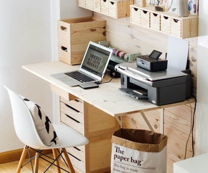desk, interior, and supplies image