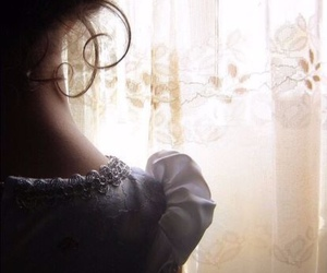 girl, curtains, and dress image