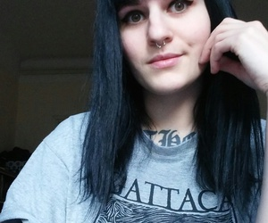 bangs, black hair, and septum image