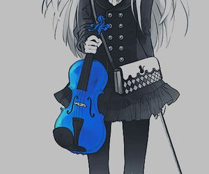 anime, violin, and blue image