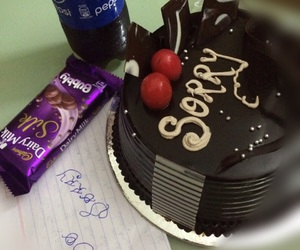 cake, chocolates, and Letter image
