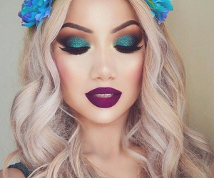flower headband, flawless eyelashes, and purple lipstick image