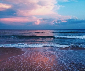 beach, sky, and ocean image