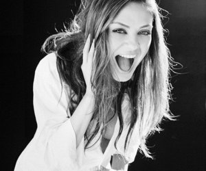 Mila Kunis, smile, and black and white image