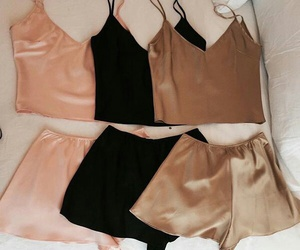 black, pink, and outfit image