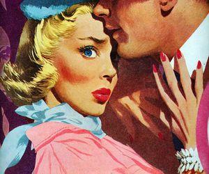 vintage, couple, and kiss image