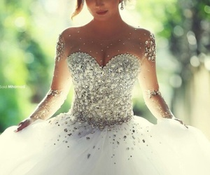 dress, wedding, and white image