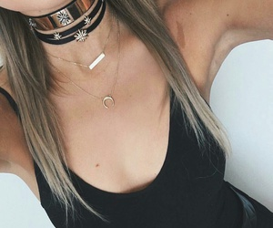 black tank top, layered necklaces, and black choker necklace image