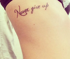 tattoo, never give up, and tatto image