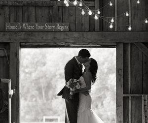barn, black and white, and brunette image