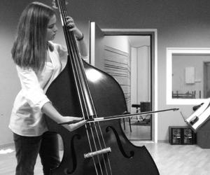 black and white, double bass, and girl image