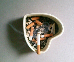 cigarette, smoke, and heart image