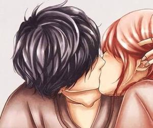 anime girl, cute couple, and kiss image