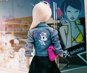 barbie, unicorn, and denimjacket image