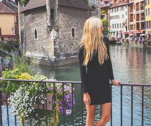 dress, blonde, and style image