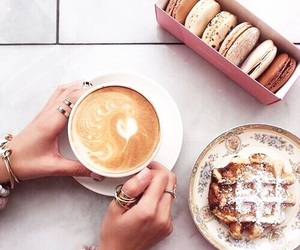 coffee, food, and waffles image