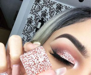 makeup, glitter, and pink image