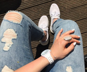jeans, levi's, and sneakers image