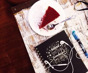 black, cake, and earphone image