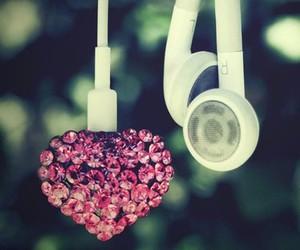 music, heart, and headphones image
