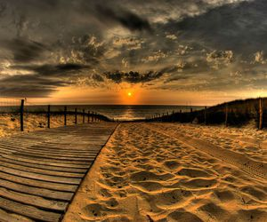 beach, sunset, and sand image