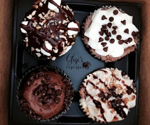 food, chocolate, and cupcake image