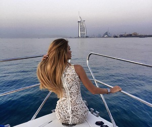 girl, fashion, and boat image