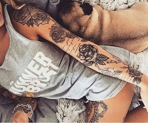 tattoo, dog, and rose image