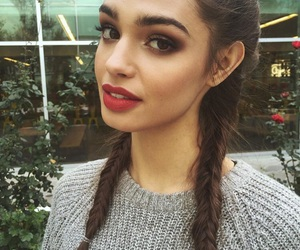 brunette, hair, and lips image