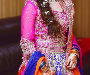 bride, pink, and blue accessories image