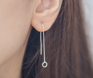 etsy, circle earrings, and chain earrings image