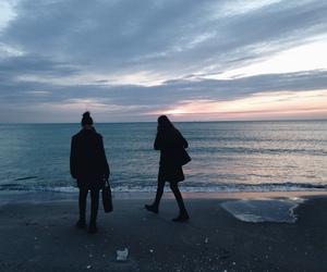 grunge, beach, and sky image