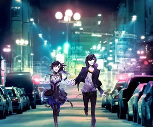 anime, city, and couple image