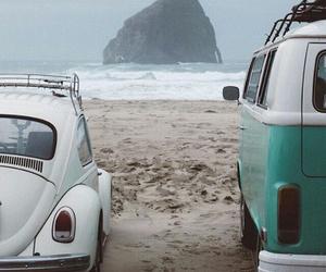 beach, bus, and rocks image