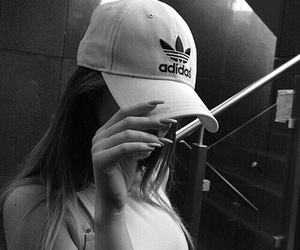 adidas, black and white, and girl image