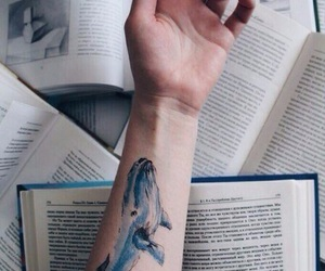 book, tattoo, and whale image