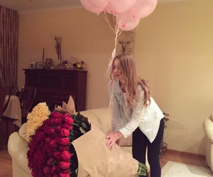 baloons, birthday, and flowers image