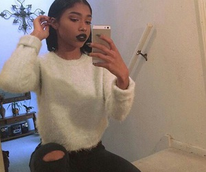 black girl, mirror selfie, and dark lips image