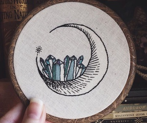 crystals, embroidery, and moon image