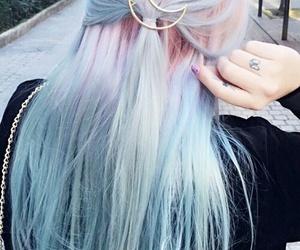 hair, moon, and pink image