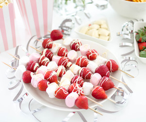 girly, party, and strawberries image
