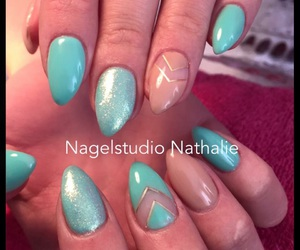 nails, beige, and blue image