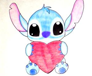 stitch, heart, and disney image